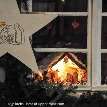 Nativity scene in Bergheim near Riquewihr. Every year a crib's trail is showing about 50 nativity scenes until January.